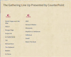 the gathering lineup
