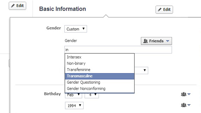 Facebook on gender 1