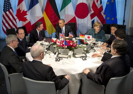 G7 leaders meet at the official residence of the Dutch prime minister in The Hague on March 24, 2014 (AFP, Saul Loeb)