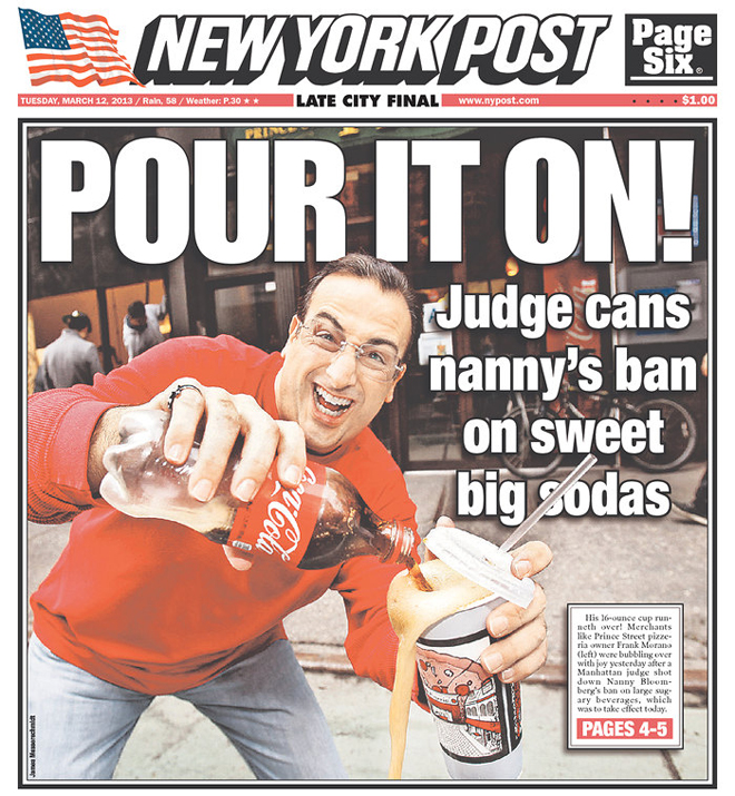bloomberg and the soda law essay New york city mayor michael bloomberg's controversial plan to keep large  sugary drinks out of restaurants and other eateries was rejected by.