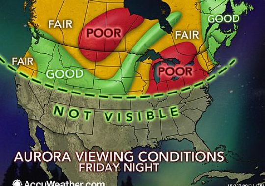 Northern lights should be visible as far south as maryland for Chance of seeing northern lights tonight