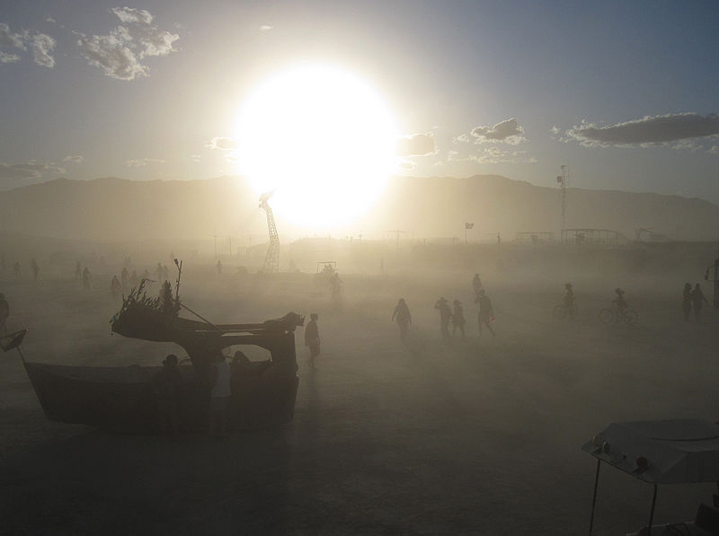 A dust storm on the playa.