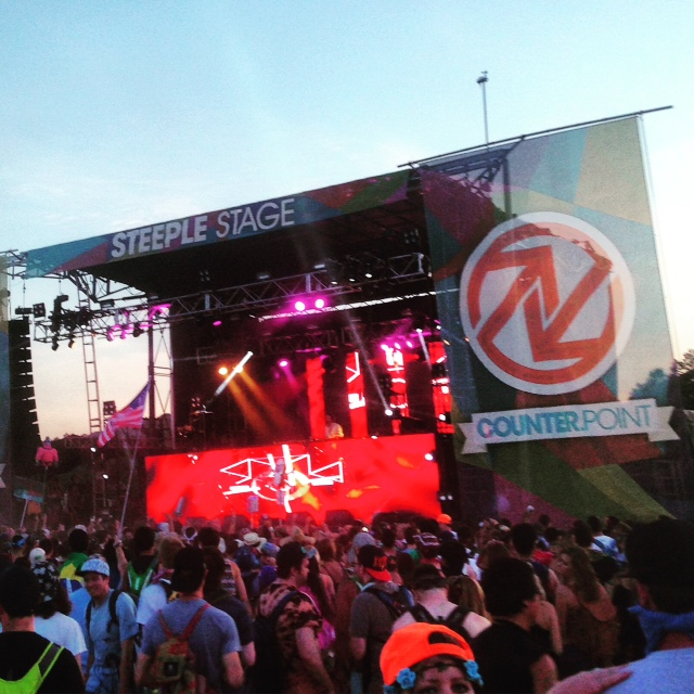 Thomas Jack performing on the Steeple Stage just before sunset at Counterpoint 2015.