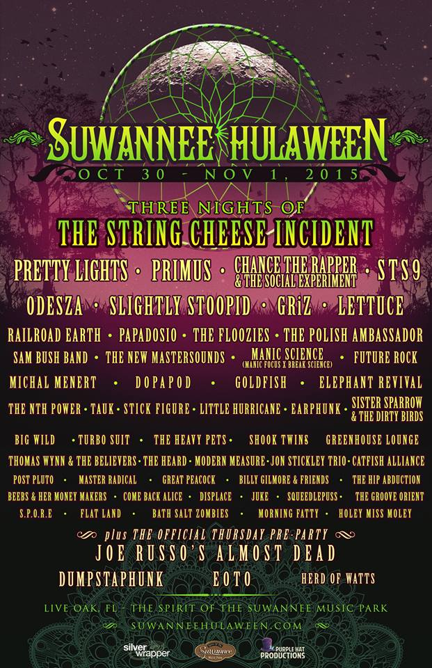 The final lineup for Hulaween 2015.